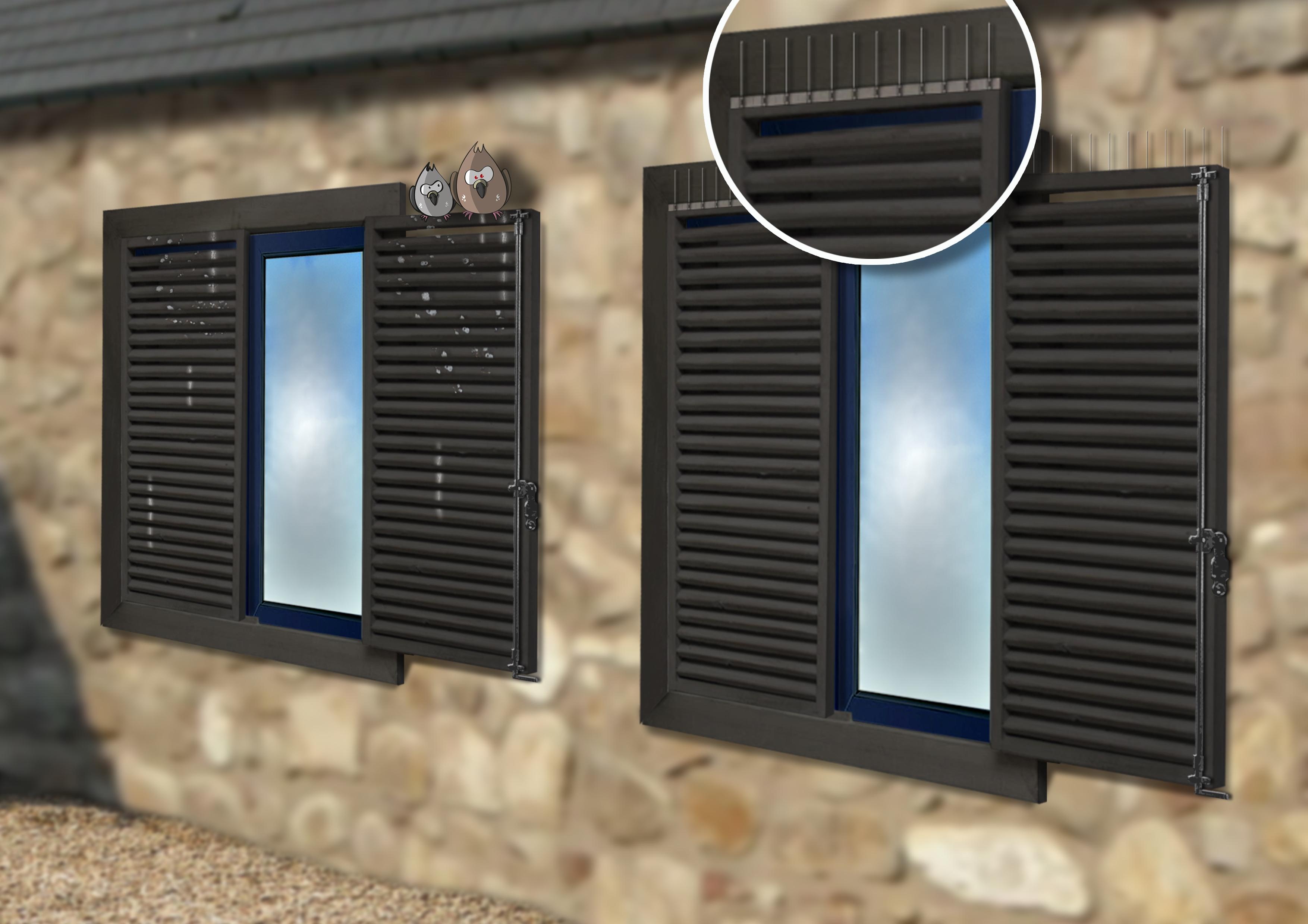Systeme anti pigeons pour volets et panneaux solaires ecopic for Pics anti pigeons